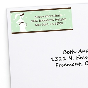 Mommy Silhouette It's Twin Babies - Personalized Baby Shower Return Address Labels - 30 ct