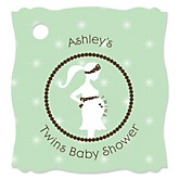 Mommy Silhouette It's Twin Babies - Personalized Baby Shower Tags - 20 Count
