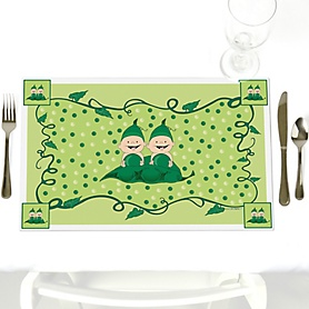Twins Two Peas in a Pod - Party Table Decorations - Baby Shower Placemats - Set of 12