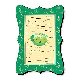 Double the Fun - Twins Two Peas In A Pod - Unique Alternative Guest Book - Baby Shower or First Birthday Party Signature Mat