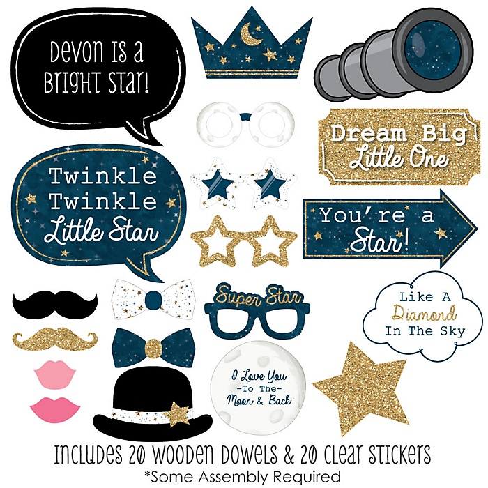 Twinkle Twinkle Little Star - 20 Piece Photo Booth Props Kit