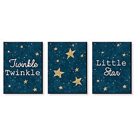 Twinkle Twinkle Little Star - Baby Boy Nursery Wall Art & Kids Room Decor - 7.5 x 10 inches - Set of 3 Prints