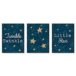 Twinkle Twinkle Little Star - Baby Boy Nursery Wall Art & Kids Room Décor - 7.5 x 10 inches - Set of 3 Prints