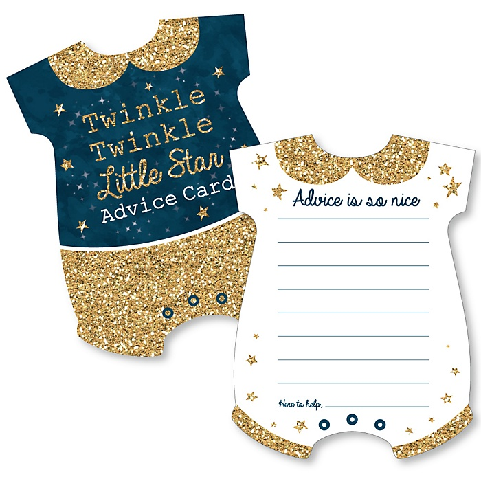 Twinkle Twinkle Little Star - Baby Bodysuit Wish Card Baby Shower Activities - Shaped Advice Cards Game - Set of 20
