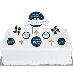 Twinkle Twinkle Little Star - Birthday Party Cake Decorating Kit - Happy Birthday Cake Topper Set - 11 Pieces