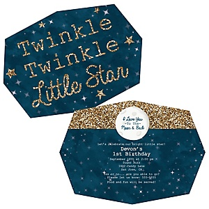 Twinkle Twinkle Little Star - Shaped Birthday Party Invitations - Set of 12