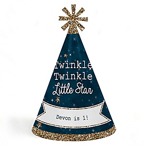 Twinkle Twinkle Little Star - Personalized Cone Happy Birthday Party Hats for Kids and Adults - Set of 8 (Standard Size)