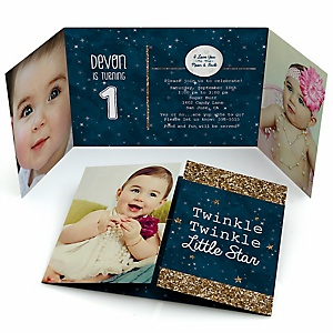 Twinkle Twinkle Little Star - Personalized Birthday Party Photo Invitations - Set of 12