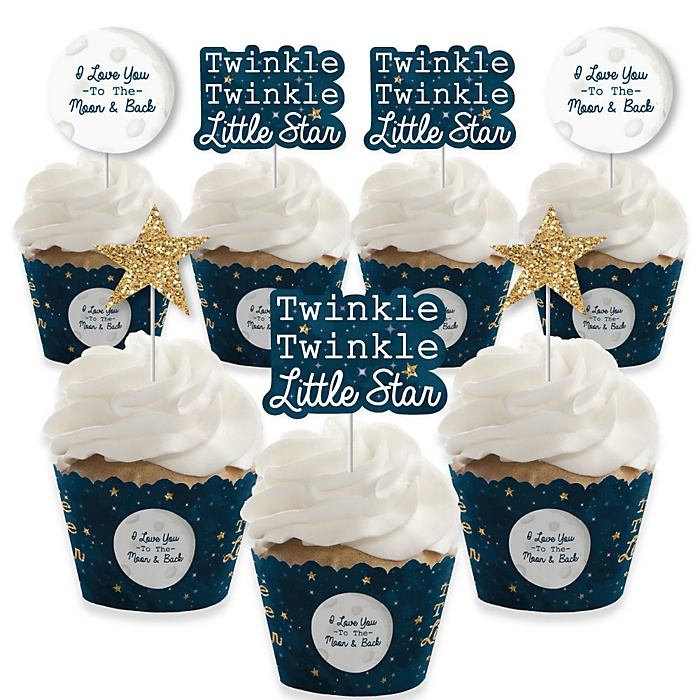 Twinkle Twinkle Little Star - Cupcake Decorations - Baby Shower or Birthday Party Cupcake Wrappers and Treat Picks Kit - Set of 24