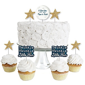 Twinkle Twinkle Little Star - Dessert Cupcake Toppers - Baby Shower or Birthday Party Clear Treat Picks - Set of 24