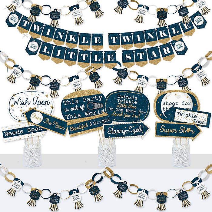 Twinkle Twinkle Little Star - Banner and Photo Booth Decorations - Baby Shower or Birthday Party Supplies Kit - Doterrific Bundle