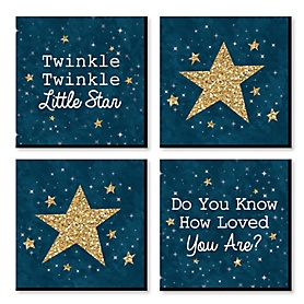Twinkle Twinkle Little Star - Nursery Decor - 11 x 11 inches Kids Wall Art - Baby Shower Gift Ideas - Set of 4 Prints for Baby's Room