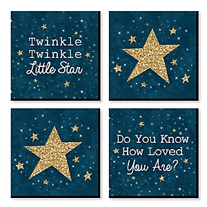 "Twinkle Twinkle Little Star - Nursery Decor - 11"" x 11"" Kids Wall Art - Baby Shower Gift Ideas - Set of 4 Prints for Baby's Room"