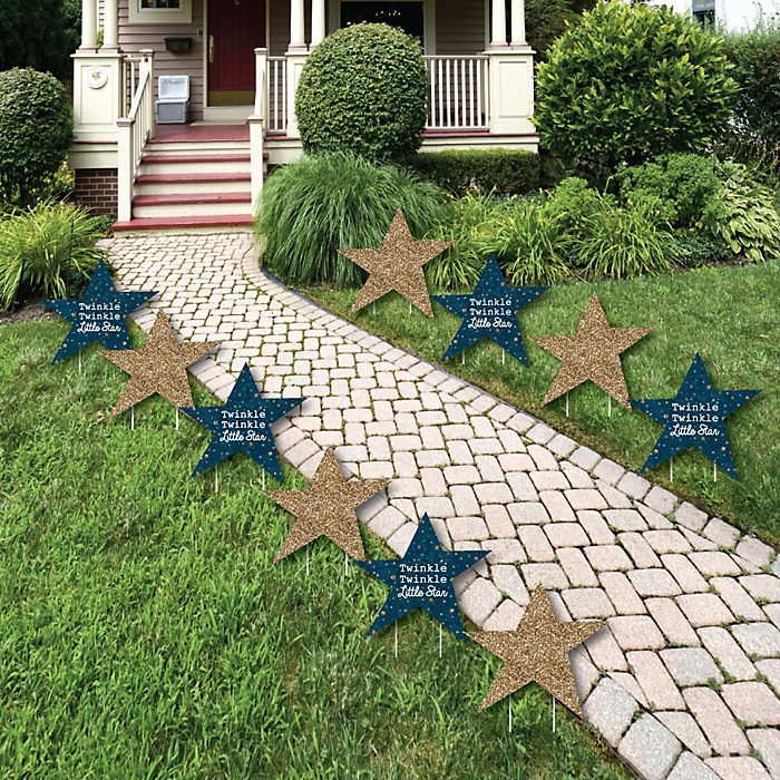 Twinkle Twinkle Little Star - Lawn Decorations - Outdoor Baby Shower or Birthday Party Yard Decorations - 10 Piece