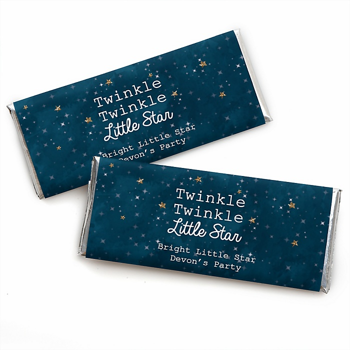 Twinkle Twinkle Little Star - Personalized Candy Bar Wrappers Party Favors - Set of 24