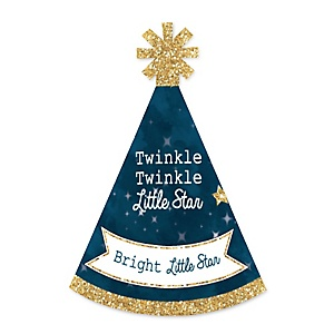 Twinkle Twinkle Little Star - Personalized Mini Cone Baby Shower or Birthday Party Hats - Small Little Party Hats - Set of 10