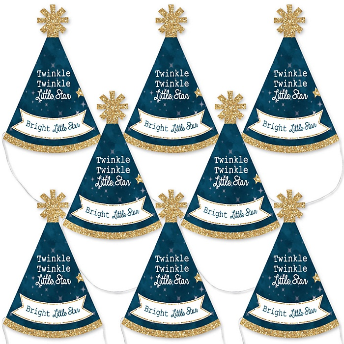 Twinkle Twinkle Little Star - Mini Cone Baby Shower or Birthday Party Hats - Small Little Party Hats - Set of 8
