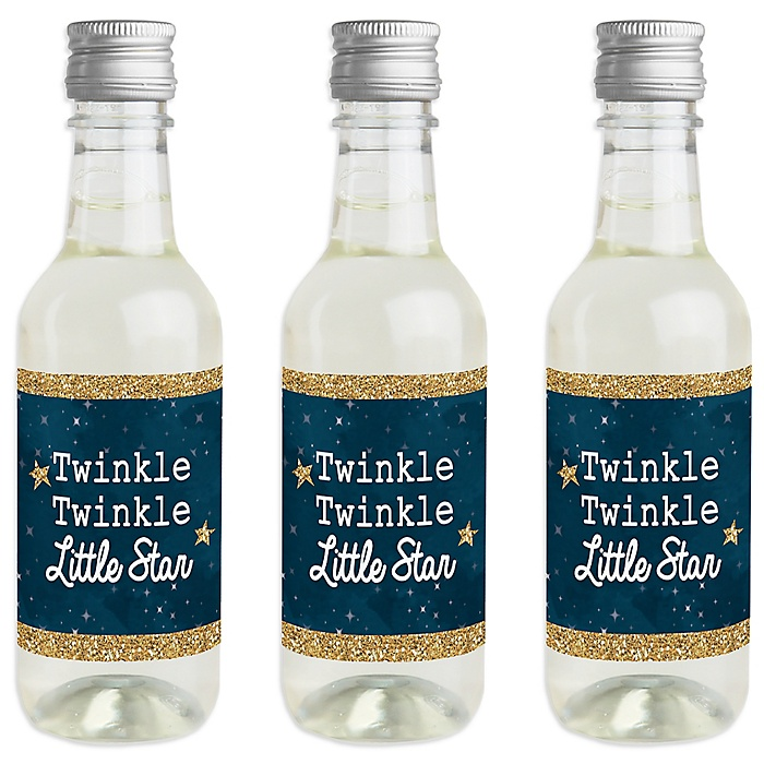 Twinkle Twinkle Little Star - Mini Wine and Champagne Bottle Label Stickers - Baby Shower or Birthday Party Favor Gift for Women and Men - Set of 16