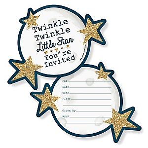 Twinkle Twinkle Little Star - Shaped Fill-In Invitations - Baby Shower or Birthday Party Invitation Cards with Envelopes - Set of 12