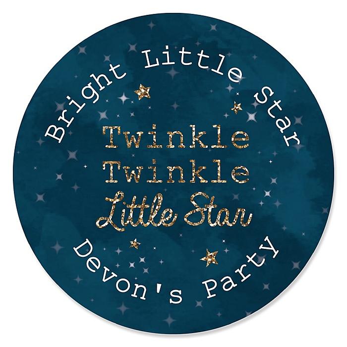 Twinkle Twinkle Little Star - Personalized Party Sticker Labels - 24 ct