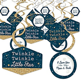 Twinkle Twinkle Little Star - Baby Shower or Birthday Party Hanging Decor - Party Decoration Swirls - Set of 40