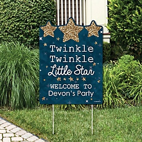Twinkle Twinkle Little Star - Party Decorations - Birthday Party or Baby Shower Personalized Welcome Yard Sign