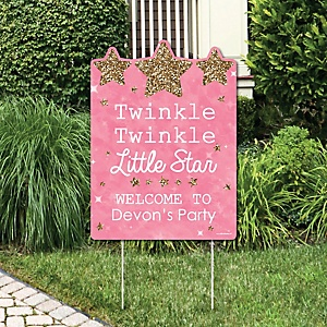 Pink Twinkle Twinkle Little Star - Party Decorations - Birthday Party or Baby Shower Personalized Welcome Yard Sign