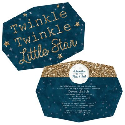 Twinkle Twinkle Little Star Shaped Party Invitations
