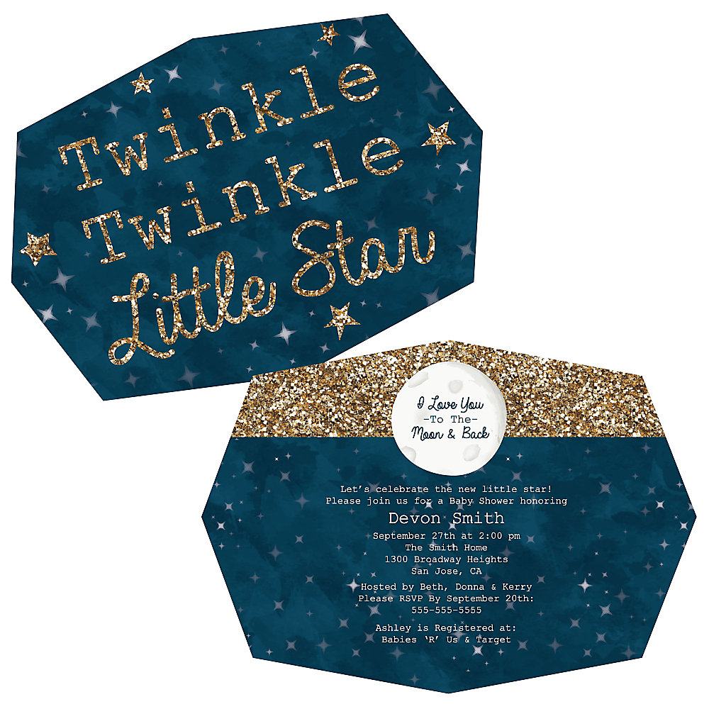 Twinkle Twinkle Little Star - Shaped Party Invitations ...