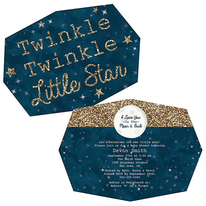 Twinkle Twinkle Little Star - Shaped Party Invitations - Set of 12