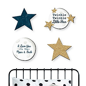 Twinkle Twinkle Little Star - Nursery and Kids Room Home Decorations - Shaped Wall Art - 4 Piece