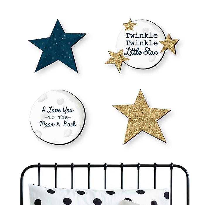 Twinkle Twinkle Little Star - Nursery and Kids Room Home Decorations - Shaped Wall Art - 4 Piece