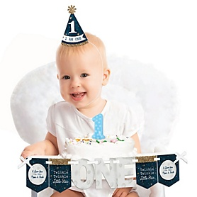 Twinkle Twinkle Little Star 1st Birthday - First Birthday Boy or Girl Smash Cake Decorating Kit - High Chair Decorations
