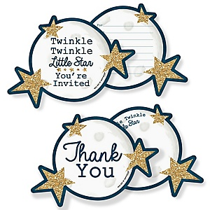Twinkle Twinkle Little Star - 20 Shaped Fill-In Invitations and 20 Shaped Thank You Cards Kit - Baby Shower or Birthday Party Stationery Kit - 40 Pack