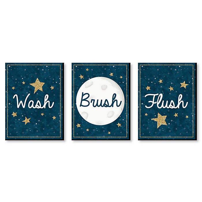 Twinkle Twinkle Little Star - Kids Bathroom Rules Wall Art - 7.5 x 10 inches - Set of 3 Signs - Wash, Brush, Flush