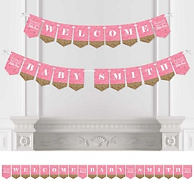 Pink Twinkle Twinkle Little Star - Personalized Party Bunting Banner & Decorations