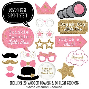 Pink Twinkle Twinkle Little Star Baby Shower Photo Booth Props Kit – 20 Props
