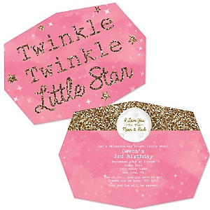 Pink Twinkle Twinkle Little Star - Shaped Birthday Party Invitations - Set of 12
