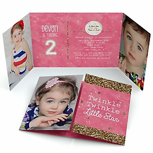 Pink Twinkle Twinkle Little Star - Personalized Birthday Party Photo Invitations - Set of 12