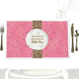 Pink Twinkle Twinkle Little Star - Party Table Decorations - Party Placemats - Set of 12
