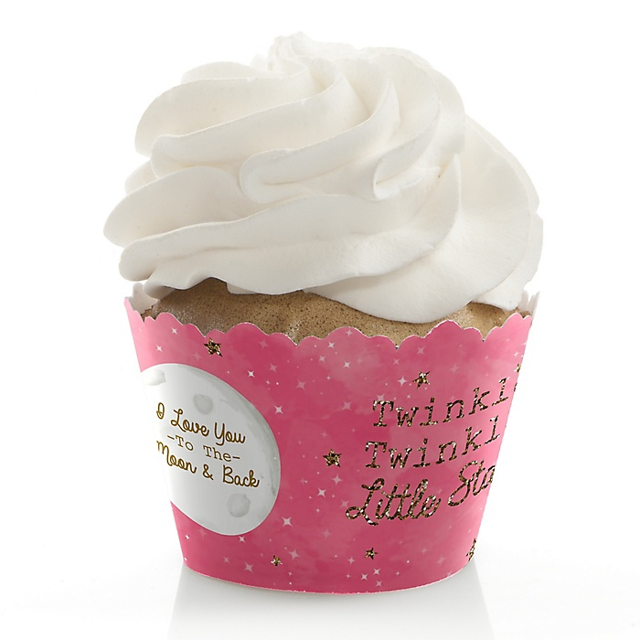 Pink Twinkle Twinkle Little Star - Baby Shower or Birthday Party Decorations - Party Cupcake Wrappers - Set of 12