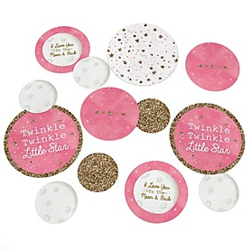 Pink Twinkle Twinkle Little Star - Baby Shower or Birthday Party Giant Circle Confetti - Girl Party Decorations - Large Confetti 27 Count