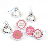 Pink Twinkle Twinkle Little Star - Round Candy Labels Party Favors - Fits Hershey's Kisses - 108 ct
