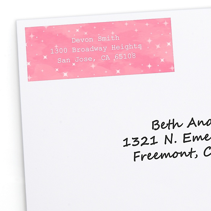 Pink Twinkle Twinkle Little Star - Personalized Party Return Address Labels - 30 ct