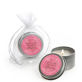 Pink Twinkle Twinkle Little Star - Personalized Party Candle Tin Favors - Set of 12