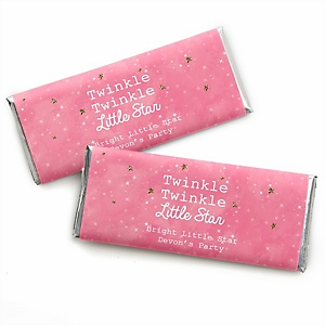 Pink Twinkle Twinkle Little Star - Personalized Candy Bar Wrappers Party Favors - Set of 24