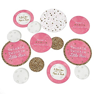 Pink Twinkle Twinkle Little Star - Personalized Baby Shower or Birthday Party Giant Circle Confetti - Girl Party Decorations - Large Confetti 27 Count