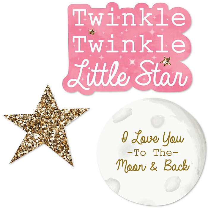 Pink Twinkle Twinkle Little Star - DIY Shaped Party Paper Cut-Outs - 24 ct