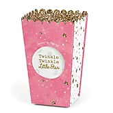 Pink Twinkle Twinkle Little Star - Personalized Party Popcorn Favor Treat Boxes