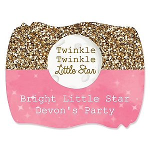 Pink Twinkle Twinkle Little Star - Personalized Party Squiggle Stickers - 16 ct